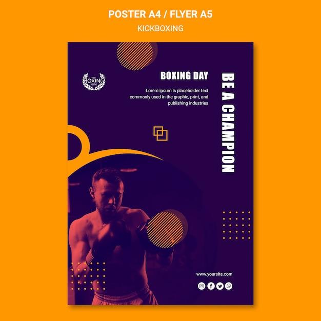 Modelo de cartaz - kickboxing campeão Psd grátis