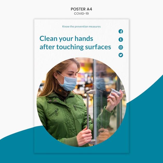 Modelo de cartaz - limpe suas mãos covid-19 Psd grátis