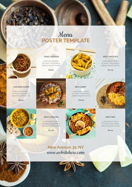 Modelo de cartaz moderno comida indiana Psd Premium