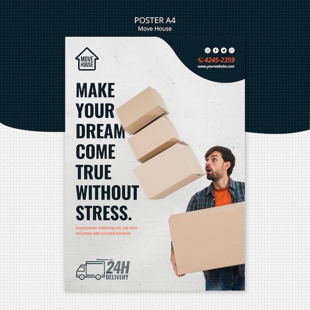 Modelo de cartaz - mudança de casa Psd grátis