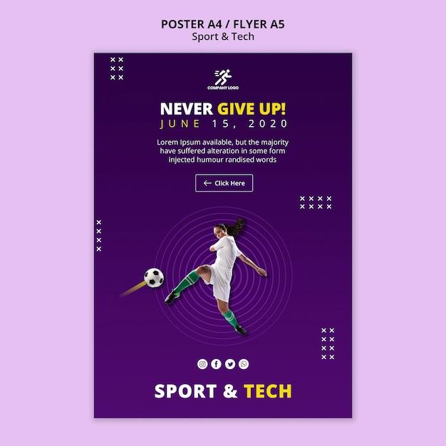 Modelo de cartaz - mulher jogando futebol Psd grátis