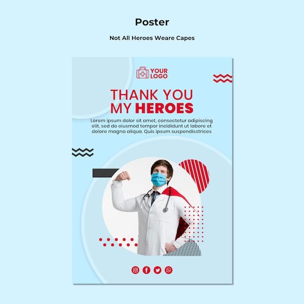 Modelo de cartaz - nem todos os heróis usam capas Psd grátis