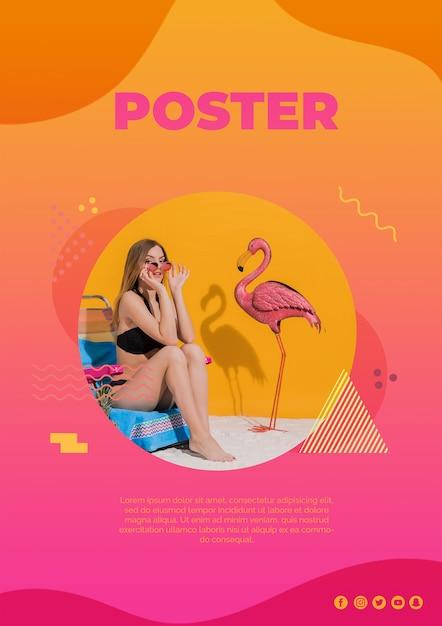 Modelo de cartaz no estilo de memphis com conceito de verão Psd grátis