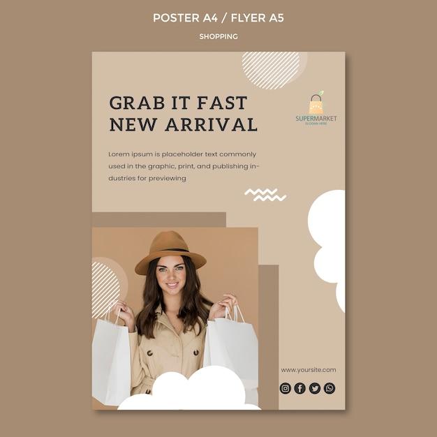 Modelo de cartaz - nova chegada de compras Psd grátis