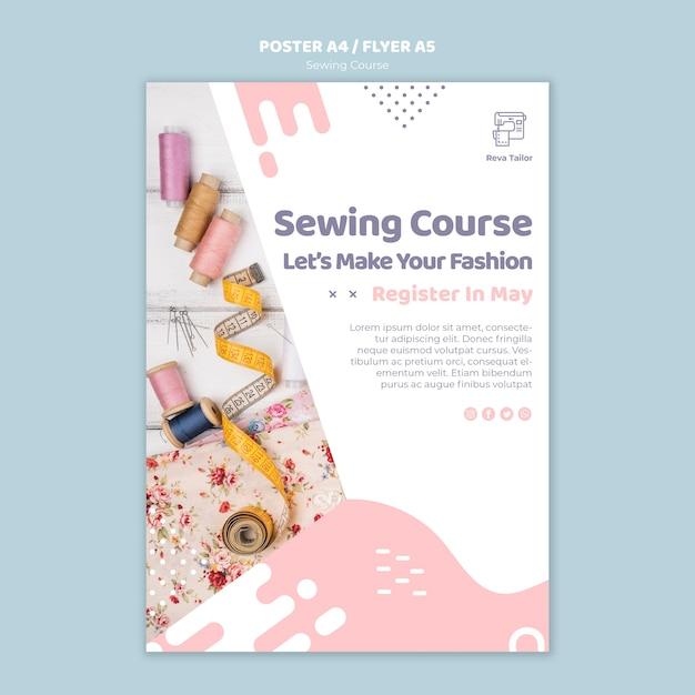 Modelo de cartaz ou folheto de curso de costura Psd grátis