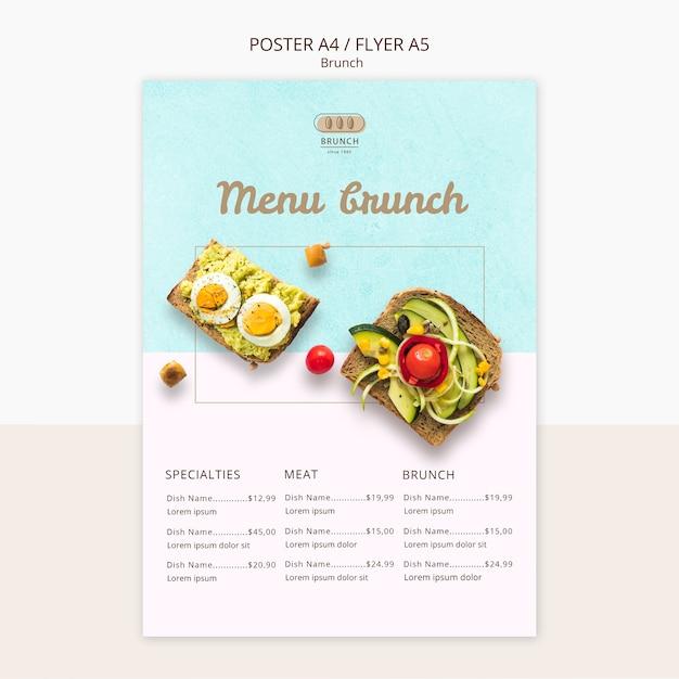 Modelo de cartaz para menu brunch Psd grátis