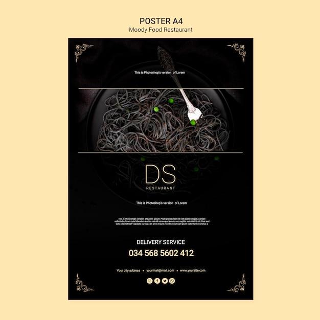 Modelo de cartaz - restaurante de comida temperamental Psd grátis