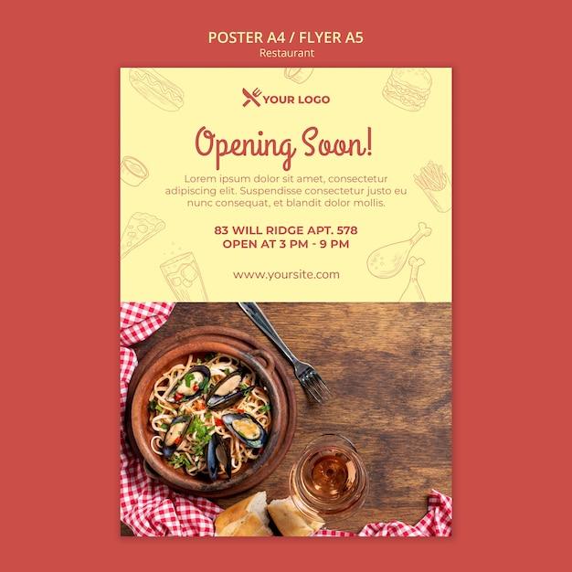 Modelo de cartaz - restaurante em breve Psd grátis