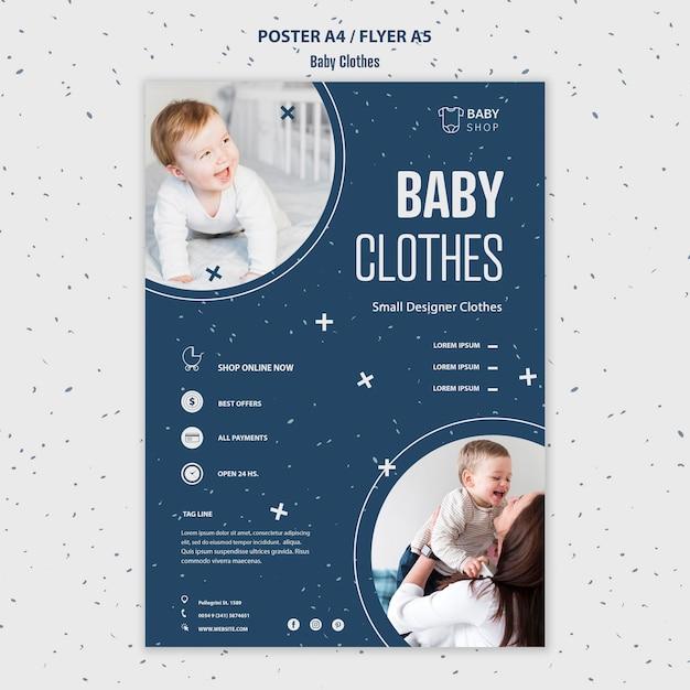 Modelo de cartaz roupas de bebê Psd grátis