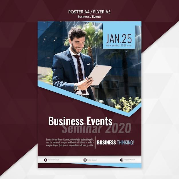 Modelo de cartaz - seminário de eventos de negócios Psd grátis