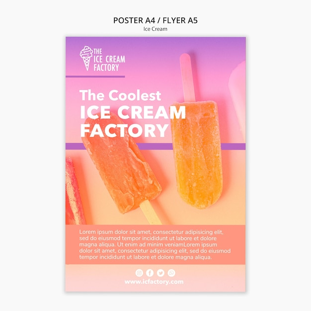 Modelo de cartaz - sorvete Psd grátis