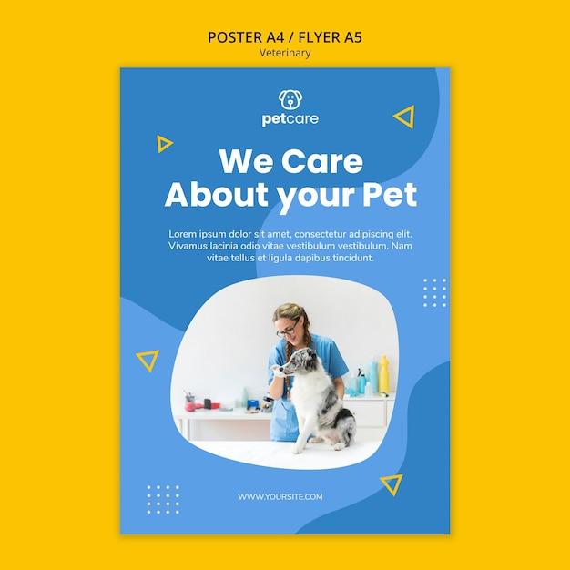 Modelo de cartaz veterinário alimentando o cão Psd grátis