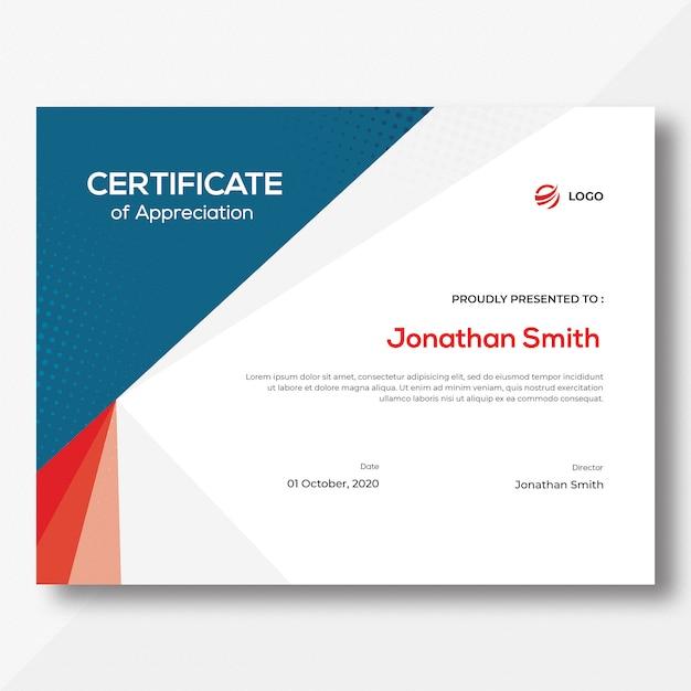 Modelo de certificado azul e vermelho Psd Premium