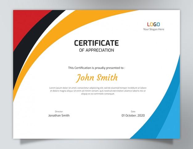Modelo de certificado de ondas multicoloridas Psd Premium