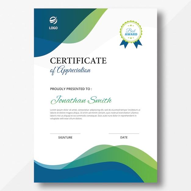 Modelo de certificado de ondas verticais abstratas Psd Premium