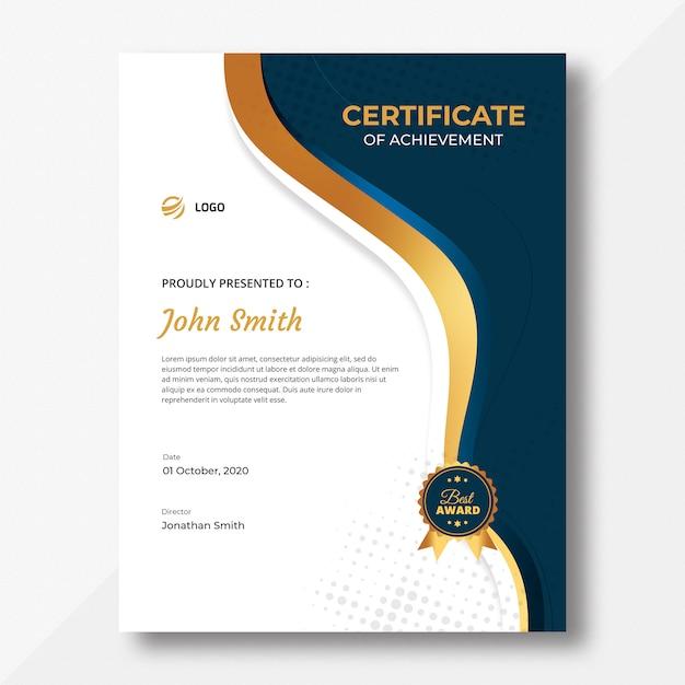 Modelo de certificado de ondas verticais Psd Premium