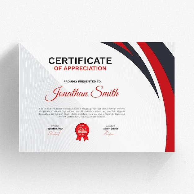 Modelo de certificado moderno com detalhes vermelhos Psd Premium