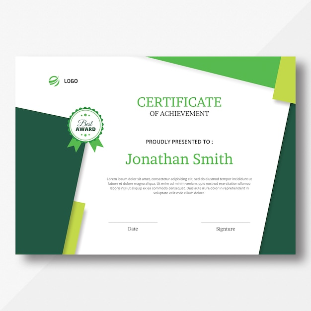 Modelo de certificado Psd Premium