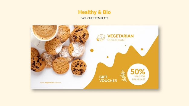 Modelo de comprovante de restaurante vegetariano Psd grátis