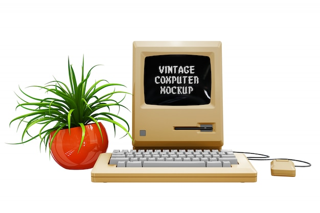 Modelo de computador vintage isolado Psd grátis