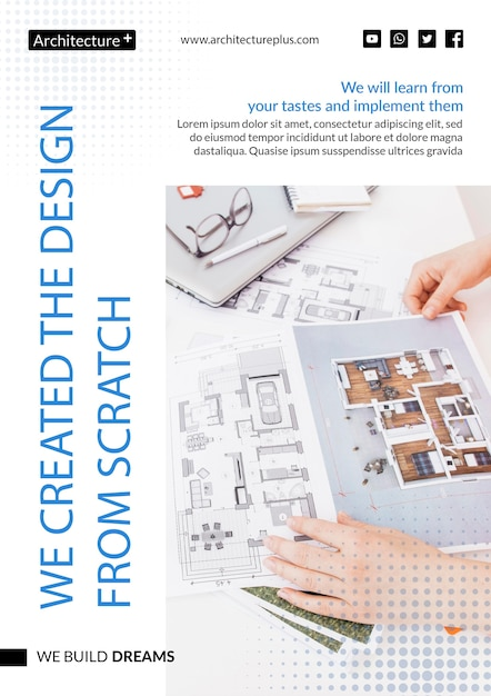 Modelo de conceito de arquitetura Psd grátis
