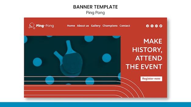 Modelo de conceito de banner de pingue-pongue Psd grátis