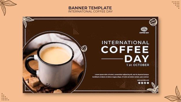Modelo de conceito de banner do dia internacional do café Psd grátis