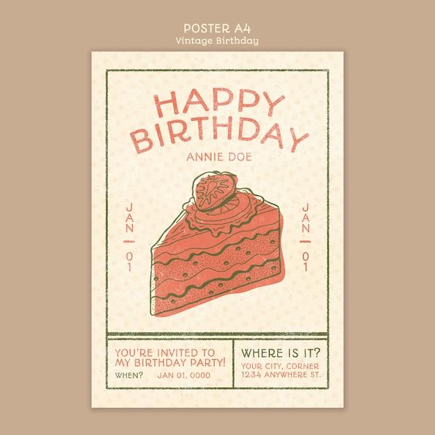 Modelo de conceito de cartaz feliz aniversário Psd grátis