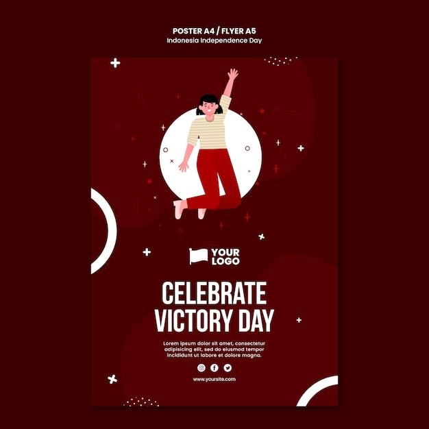 Modelo de conceito de folheto do dia da independência da indonésia Psd grátis