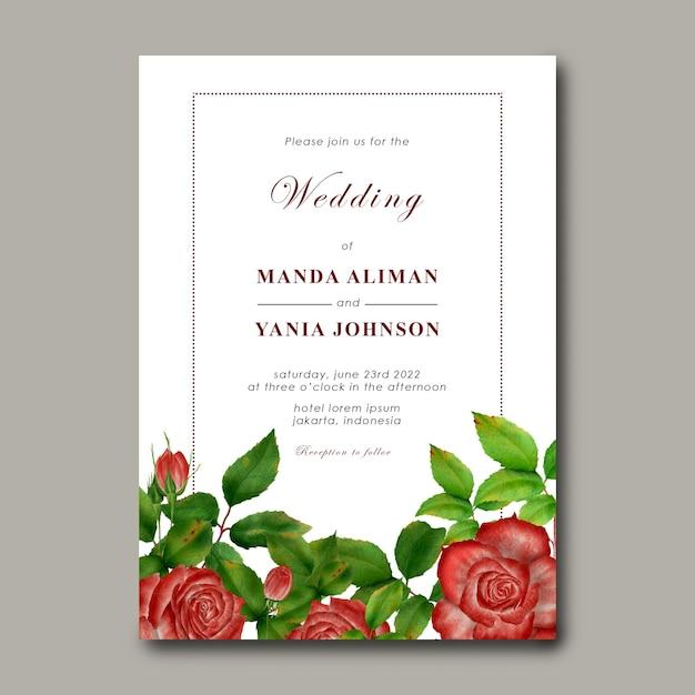 Modelo de convite de casamento com decoração de flores rosas Psd Premium