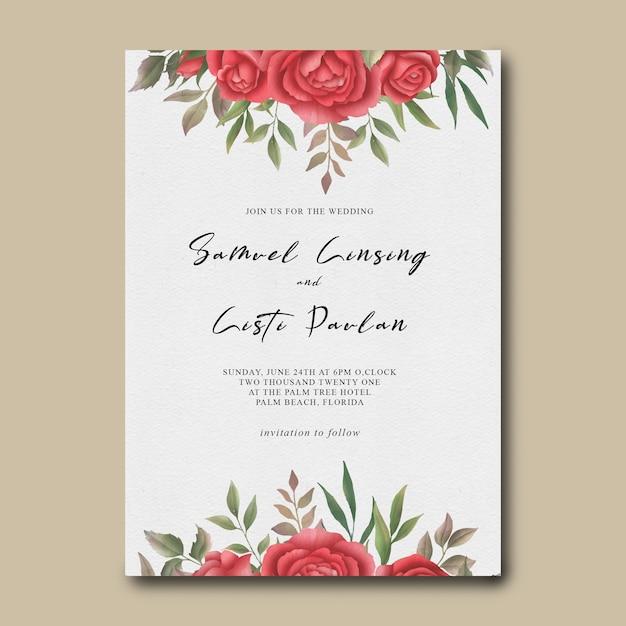 Modelo de convite de casamento com moldura de flor rosa vermelha em aquarela Psd Premium