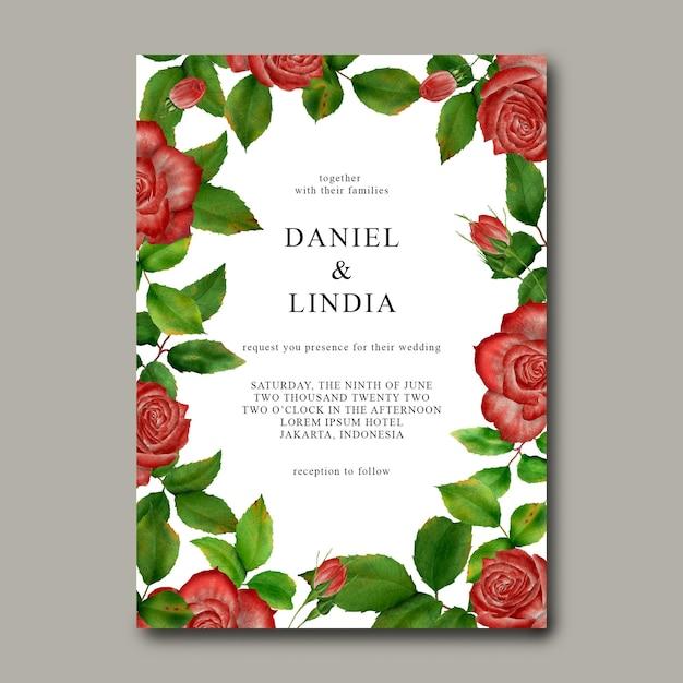 Modelo de convite de casamento com moldura de flor rosa Psd Premium