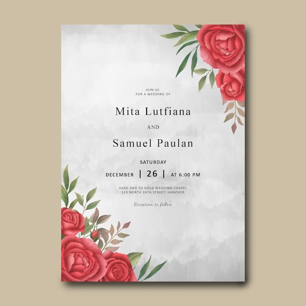 Modelo de convite de casamento com um buquê de rosas vermelhas em aquarela Psd Premium