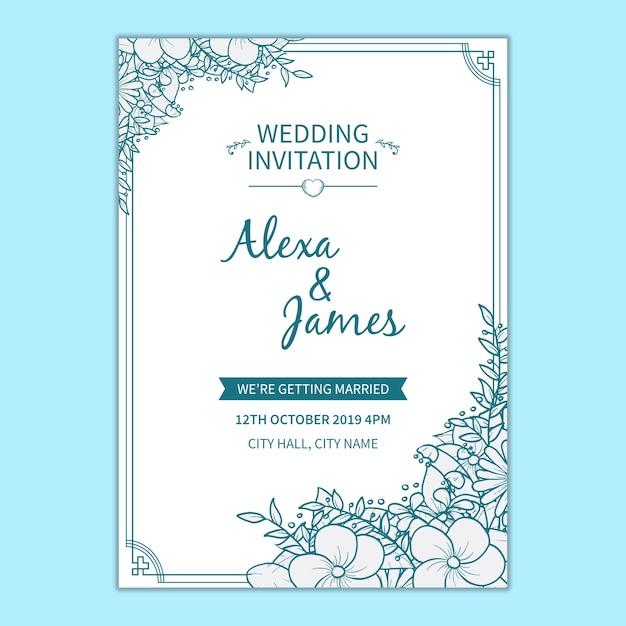 Modelo de convite de casamento floral Psd grátis