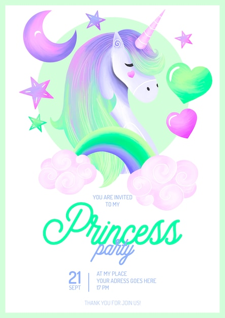 Modelo de convite de festa linda princesa Psd grátis