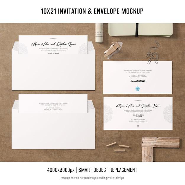 Modelo de convite e envelope Psd grátis
