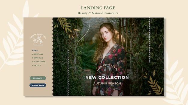 Modelo de cosméticos naturais da página de destino Psd grátis