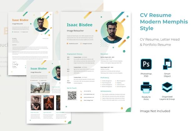 Modelo de currículo profissional de memphis plana Psd Premium