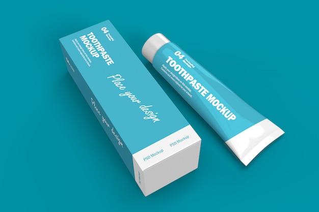 Modelo de design de embalagem 3d de tubo e caixa de pasta de dente Psd Premium