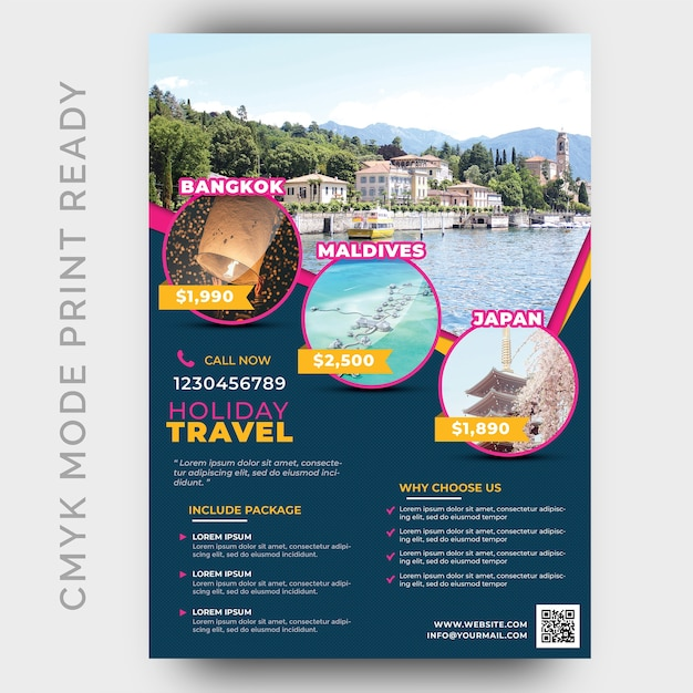 Modelo de design de férias tour & travel flyer Psd Premium
