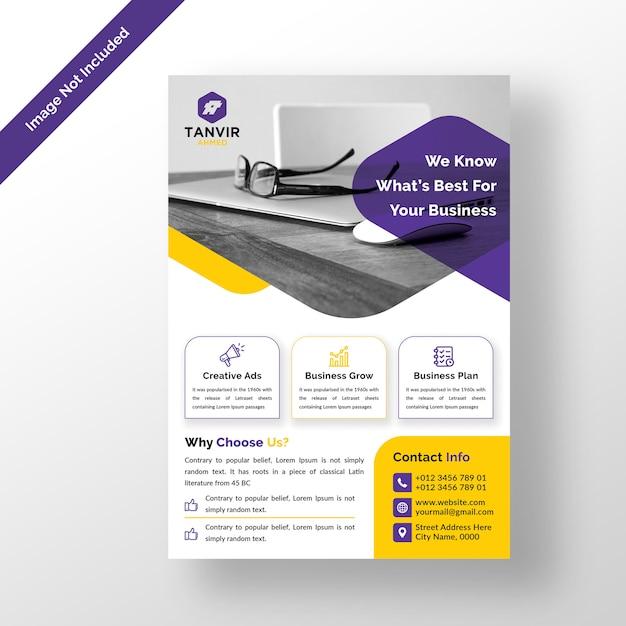 Modelo de design de folheto empresarial moderno psd Psd Premium