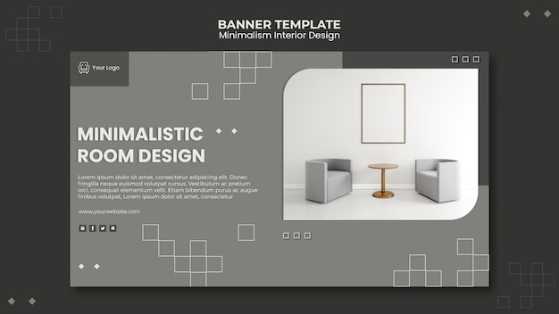 Modelo de design de interiores minimalista de banner Psd grátis