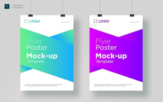 Modelo de design de maquete de suspensão de dois panfletos Psd Premium