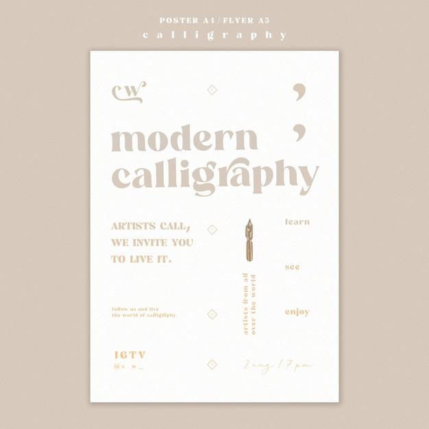 Modelo de design de pôster de caligrafia Psd grátis