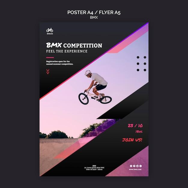 Modelo de design de pôster de competição bmx Psd grátis