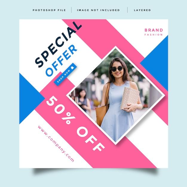 Modelo de design de promoção de mídia social de moda Psd Premium