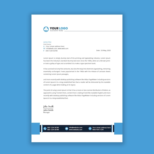 Modelo de design moderno de papel timbrado com cor azul Psd Premium