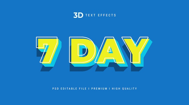 Modelo de efeito de estilo de texto 3d de 7 dias Psd Premium