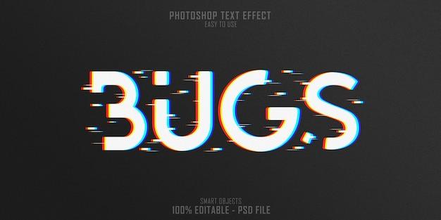 Modelo de efeito de estilo de texto 3d do web bugs Psd Premium