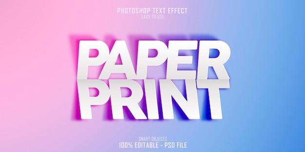 Modelo de efeito de estilo de texto 3d para impressão em papel Psd Premium